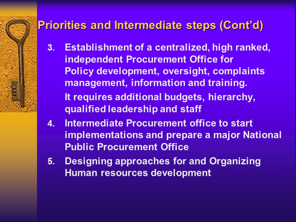 Priorities and Intermediate steps (Contd) 3.
