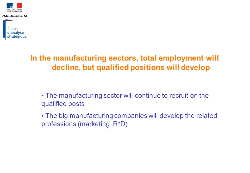 PREMIER MINISTRE In the manufacturing sectors, total employment will decline, but qualified positions will develop The manufacturing sector will continue to recruit on the qualified posts The big manufacturing companies will develop the related professions (marketing, R*D).