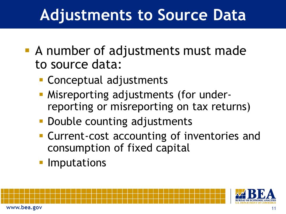 www.bea.gov 11 Adjustments to Source Data A number of adjustments must made to source data: Conceptual adjustments Misreporting adjustments (for under- reporting or misreporting on tax returns) Double counting adjustments Current-cost accounting of inventories and consumption of fixed capital Imputations