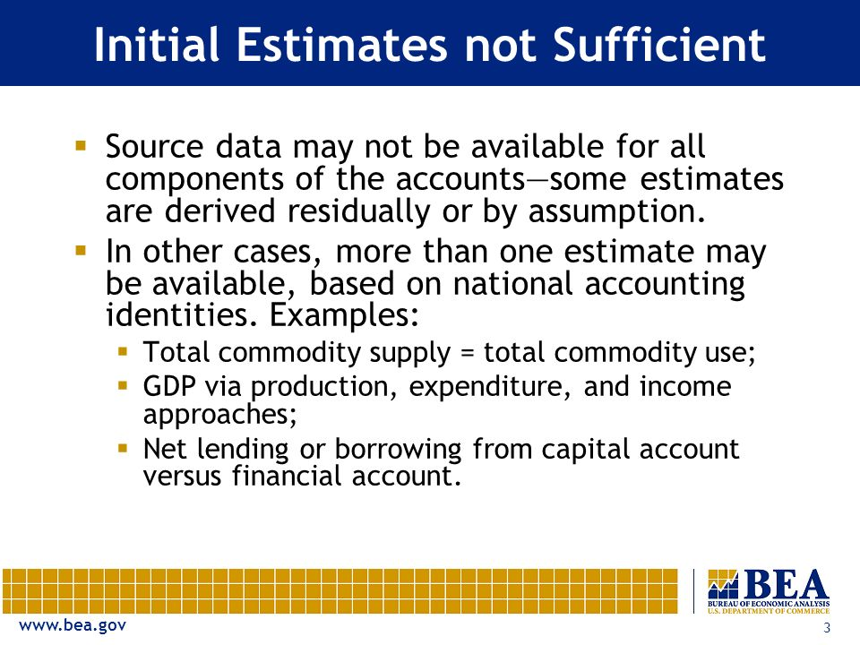 www.bea.gov 3 Initial Estimates not Sufficient Source data may not be available for all components of the accountssome estimates are derived residually or by assumption.