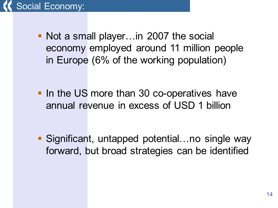 14 Not a small player…in 2007 the social economy employed around 11 million people in Europe (6% of the working population) In the US more than 30 co-operatives have annual revenue in excess of USD 1 billion Significant, untapped potential…no single way forward, but broad strategies can be identified Social Economy: