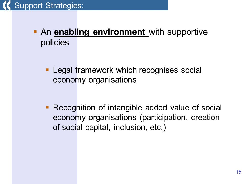 15 An enabling environment with supportive policies Legal framework which recognises social economy organisations Recognition of intangible added value of social economy organisations (participation, creation of social capital, inclusion, etc.) Support Strategies: