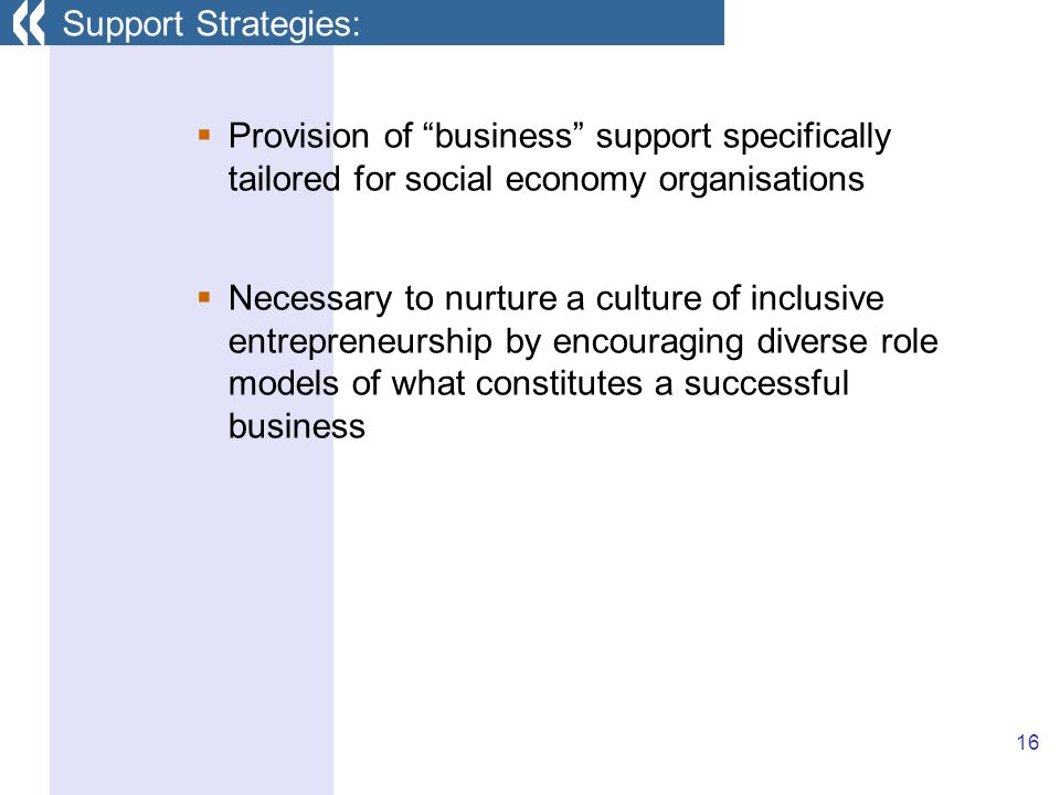 16 Provision of business support specifically tailored for social economy organisations Necessary to nurture a culture of inclusive entrepreneurship by encouraging diverse role models of what constitutes a successful business Support Strategies:
