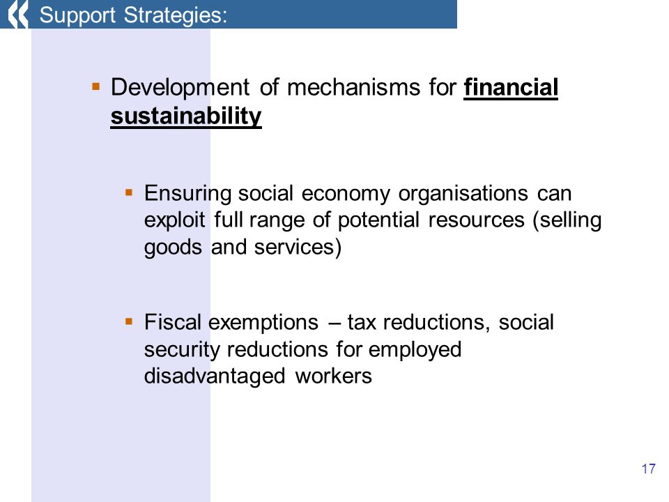 17 Development of mechanisms for financial sustainability Ensuring social economy organisations can exploit full range of potential resources (selling goods and services) Fiscal exemptions – tax reductions, social security reductions for employed disadvantaged workers Support Strategies: