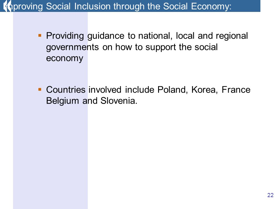 22 Providing guidance to national, local and regional governments on how to support the social economy Countries involved include Poland, Korea, France Belgium and Slovenia.