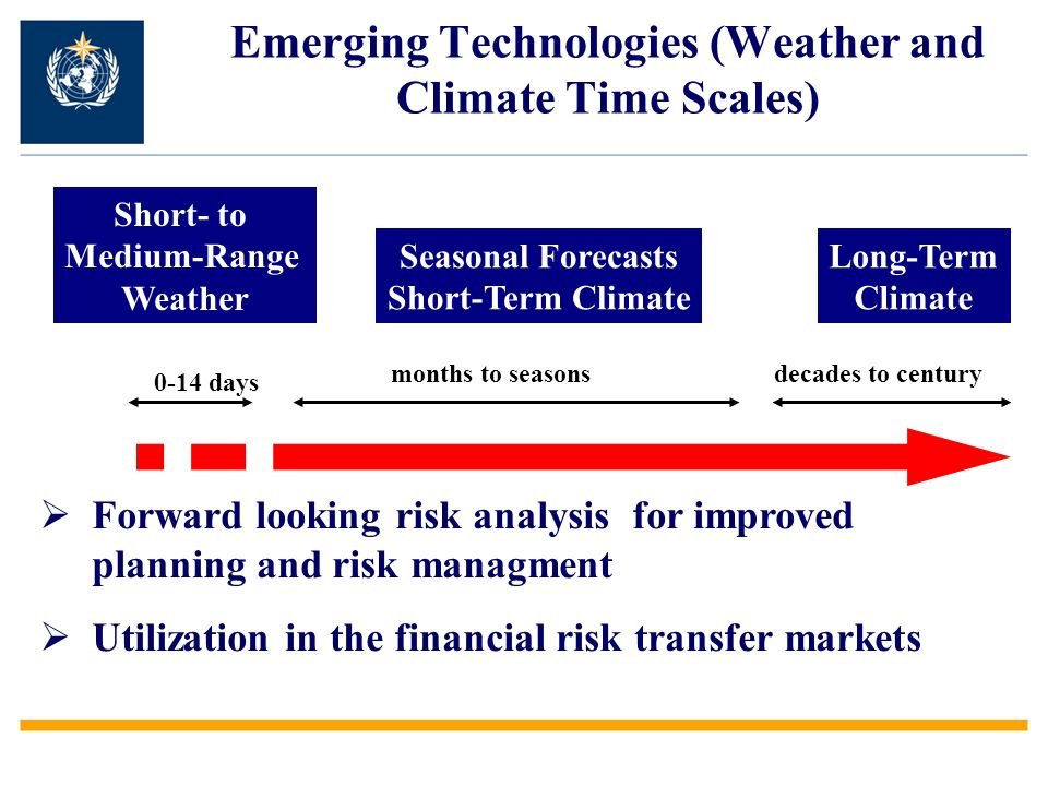 Emerging Technologies (Weather and Climate Time Scales) Short- to Medium-Range Weather Seasonal Forecasts Short-Term Climate Long-Term Climate 0-14 days months to seasonsdecades to century Forward looking risk analysis for improved planning and risk managment Utilization in the financial risk transfer markets
