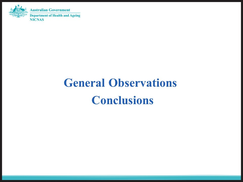 General Observations Conclusions