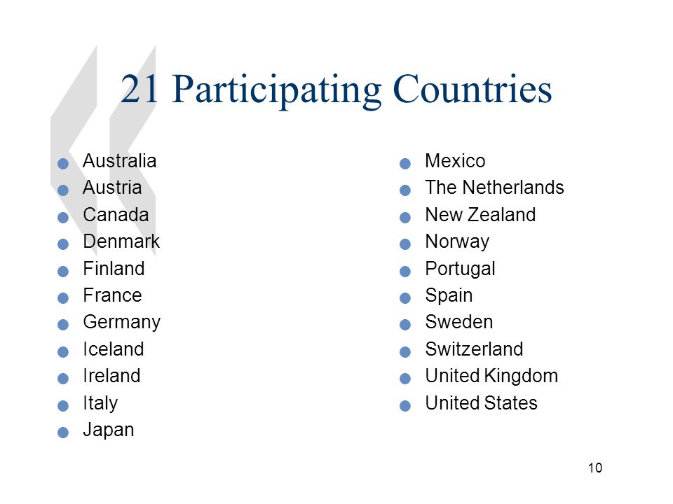 10 21 Participating Countries Australia Austria Canada Denmark Finland France Germany Iceland Ireland Italy Japan Mexico The Netherlands New Zealand Norway Portugal Spain Sweden Switzerland United Kingdom United States