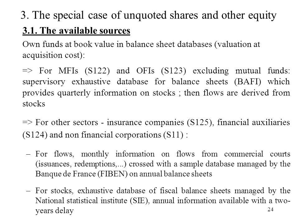 24 3. The special case of unquoted shares and other equity 3.1.