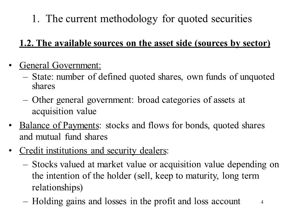 4 1. The current methodology for quoted securities 1.2.