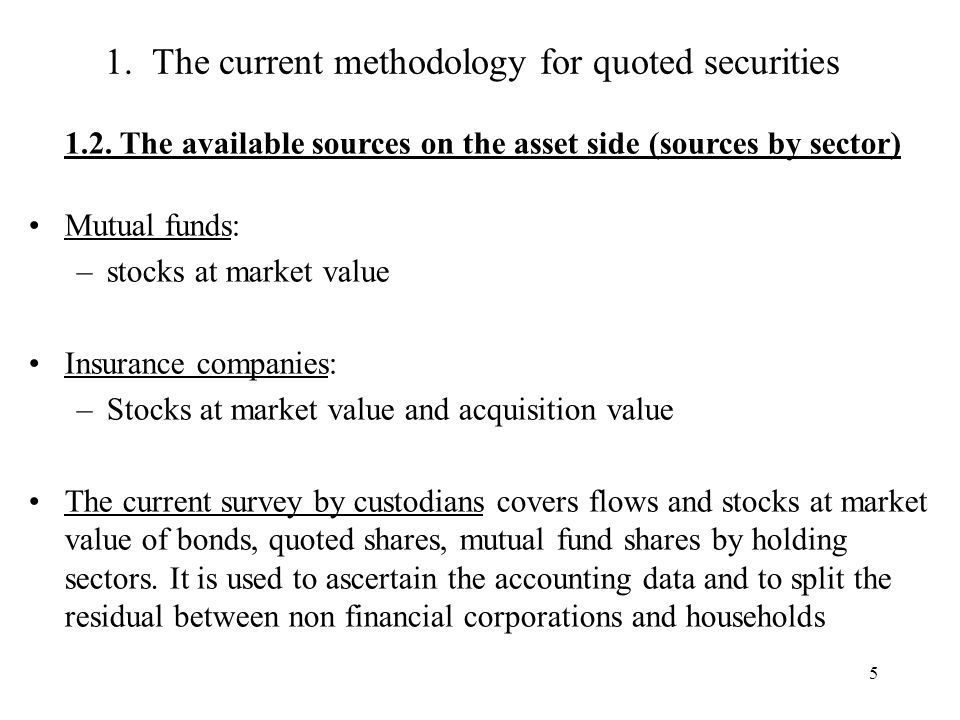 5 1. The current methodology for quoted securities 1.2.