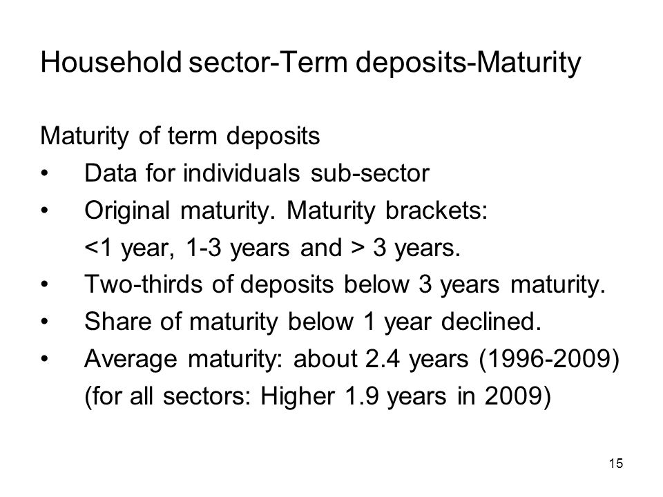 15 Household sector-Term deposits-Maturity Maturity of term deposits Data for individuals sub-sector Original maturity.