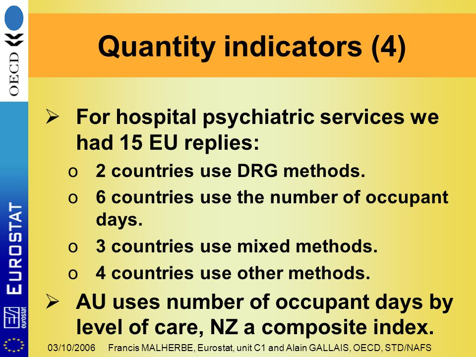 03/10/2006Francis MALHERBE, Eurostat, unit C1 and Alain GALLAIS, OECD, STD/NAFS For hospital psychiatric services we had 15 EU replies: o2 countries use DRG methods.
