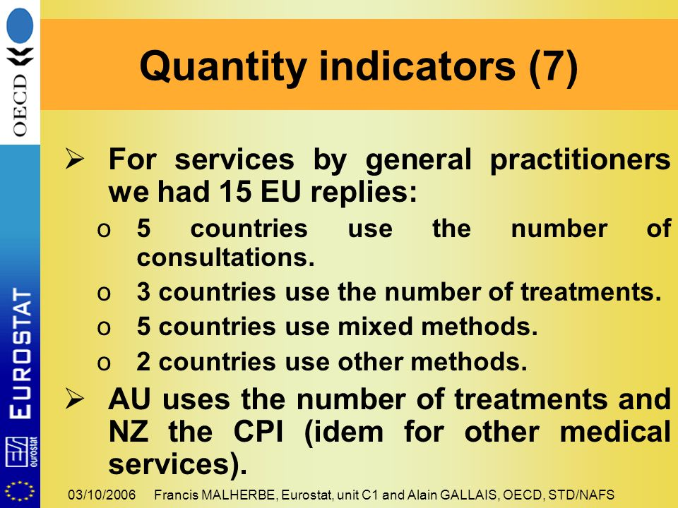 03/10/2006Francis MALHERBE, Eurostat, unit C1 and Alain GALLAIS, OECD, STD/NAFS For services by general practitioners we had 15 EU replies: o5 countries use the number of consultations.