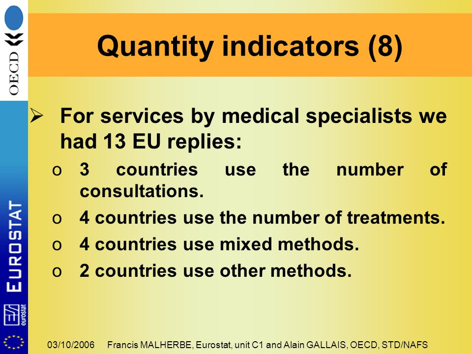 03/10/2006Francis MALHERBE, Eurostat, unit C1 and Alain GALLAIS, OECD, STD/NAFS For services by medical specialists we had 13 EU replies: o3 countries use the number of consultations.