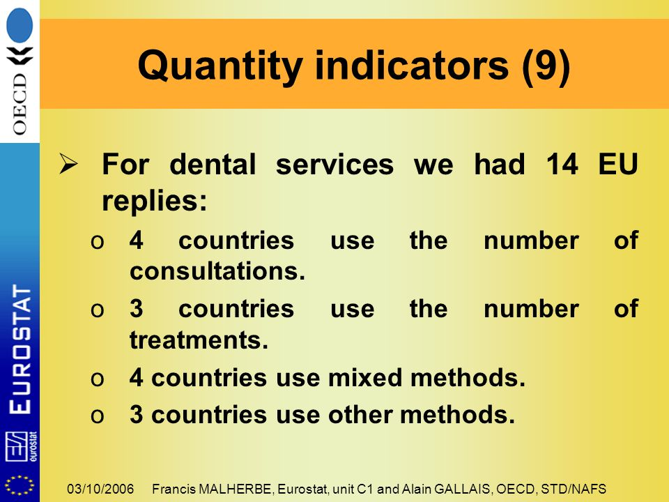 03/10/2006Francis MALHERBE, Eurostat, unit C1 and Alain GALLAIS, OECD, STD/NAFS For dental services we had 14 EU replies: o4 countries use the number of consultations.