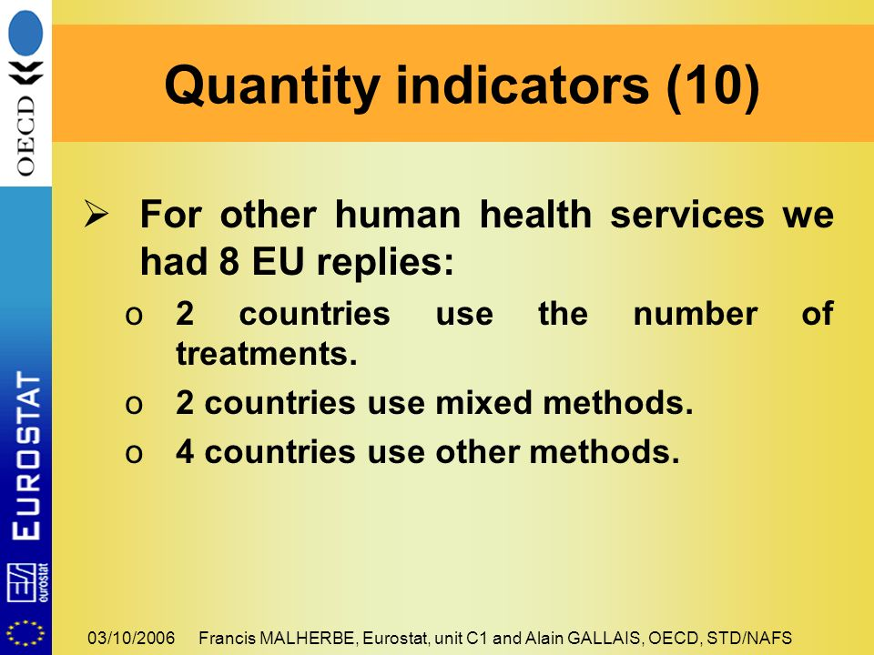 03/10/2006Francis MALHERBE, Eurostat, unit C1 and Alain GALLAIS, OECD, STD/NAFS For other human health services we had 8 EU replies: o2 countries use the number of treatments.