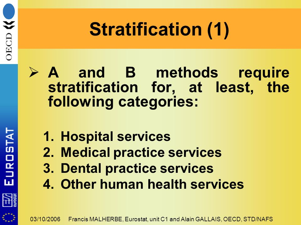 03/10/2006Francis MALHERBE, Eurostat, unit C1 and Alain GALLAIS, OECD, STD/NAFS A and B methods require stratification for, at least, the following categories: 1.Hospital services 2.Medical practice services 3.Dental practice services 4.Other human health services Stratification (1)