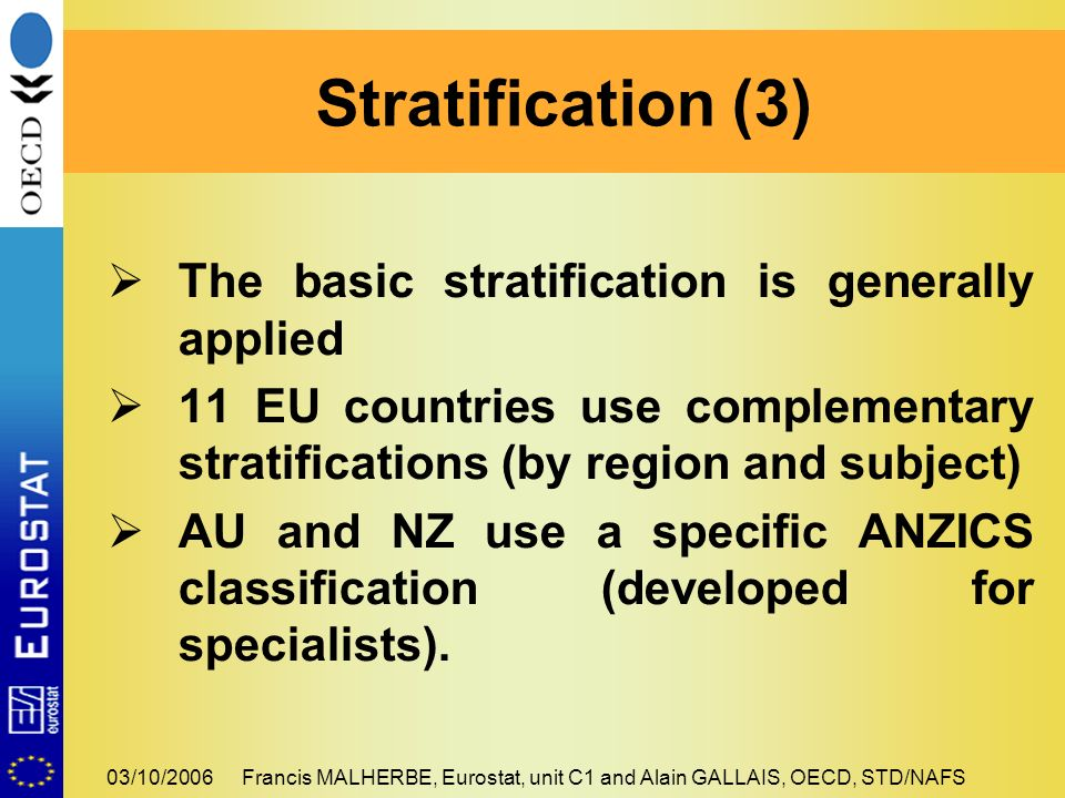 03/10/2006Francis MALHERBE, Eurostat, unit C1 and Alain GALLAIS, OECD, STD/NAFS The basic stratification is generally applied 11 EU countries use complementary stratifications (by region and subject) AU and NZ use a specific ANZICS classification (developed for specialists).