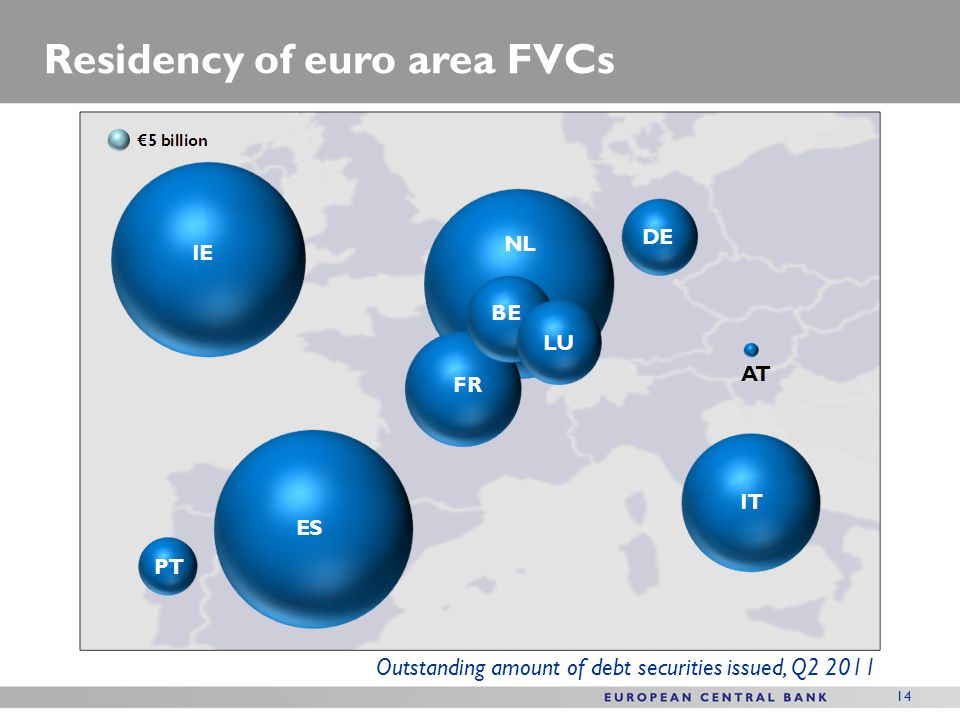 14 Residency of euro area FVCs Outstanding amount of debt securities issued, Q2 2011