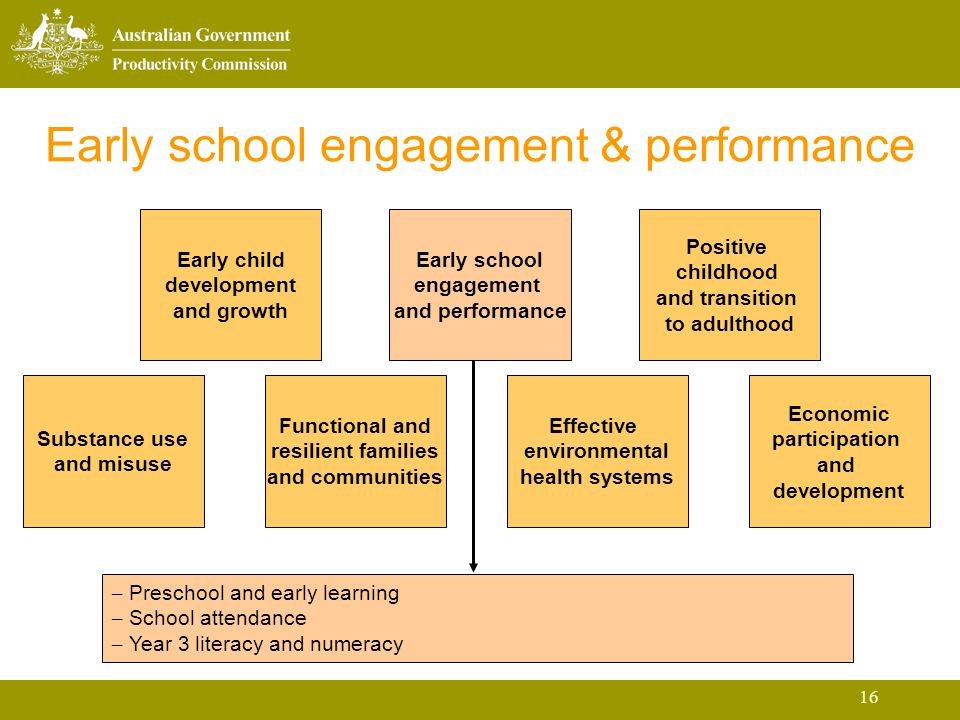 16 Early school engagement & performance Early child development and growth Early school engagement and performance Positive childhood and transition to adulthood Substance use and misuse Functional and resilient families and communities Effective environmental health systems Economic participation and development – Preschool and early learning – School attendance – Year 3 literacy and numeracy