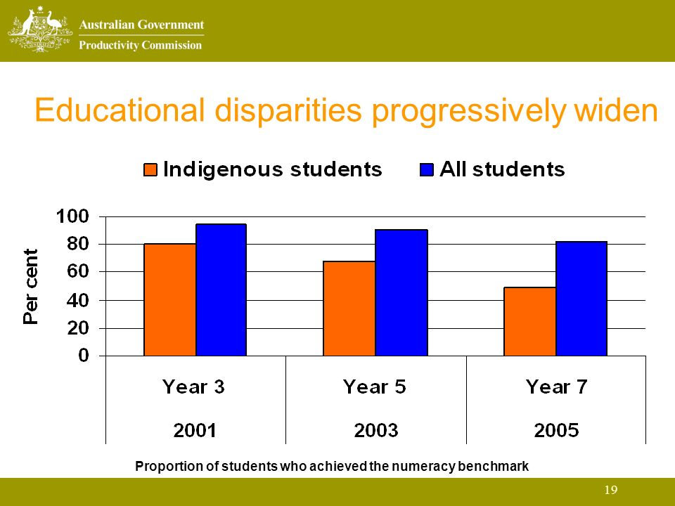 19 Educational disparities progressively widen Proportion of students who achieved the numeracy benchmark