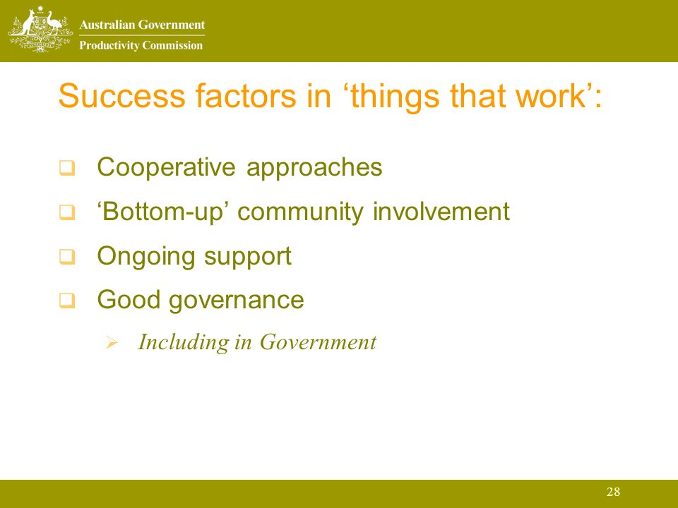 28 Success factors in things that work: Cooperative approaches Bottom-up community involvement Ongoing support Good governance Including in Government