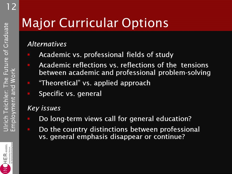 Ulrich Teichler: The Future of GraduateEmployment and Work 12 Major Curricular Options Alternatives Academic vs.