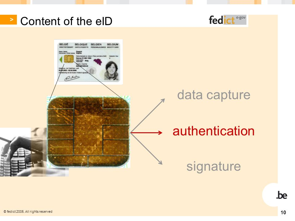 © fedict All rights reserved 10 authentication data capture signature Content of the eID