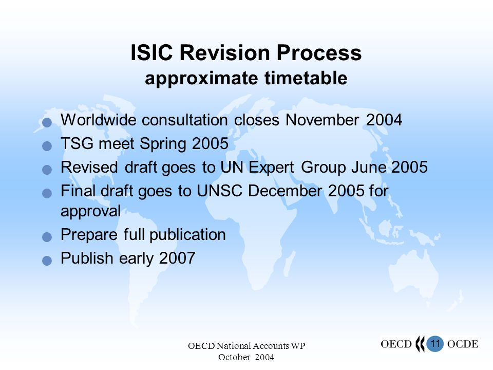 11 OECD National Accounts WP October 2004 ISIC Revision Process approximate timetable Worldwide consultation closes November 2004 TSG meet Spring 2005 Revised draft goes to UN Expert Group June 2005 Final draft goes to UNSC December 2005 for approval Prepare full publication Publish early 2007