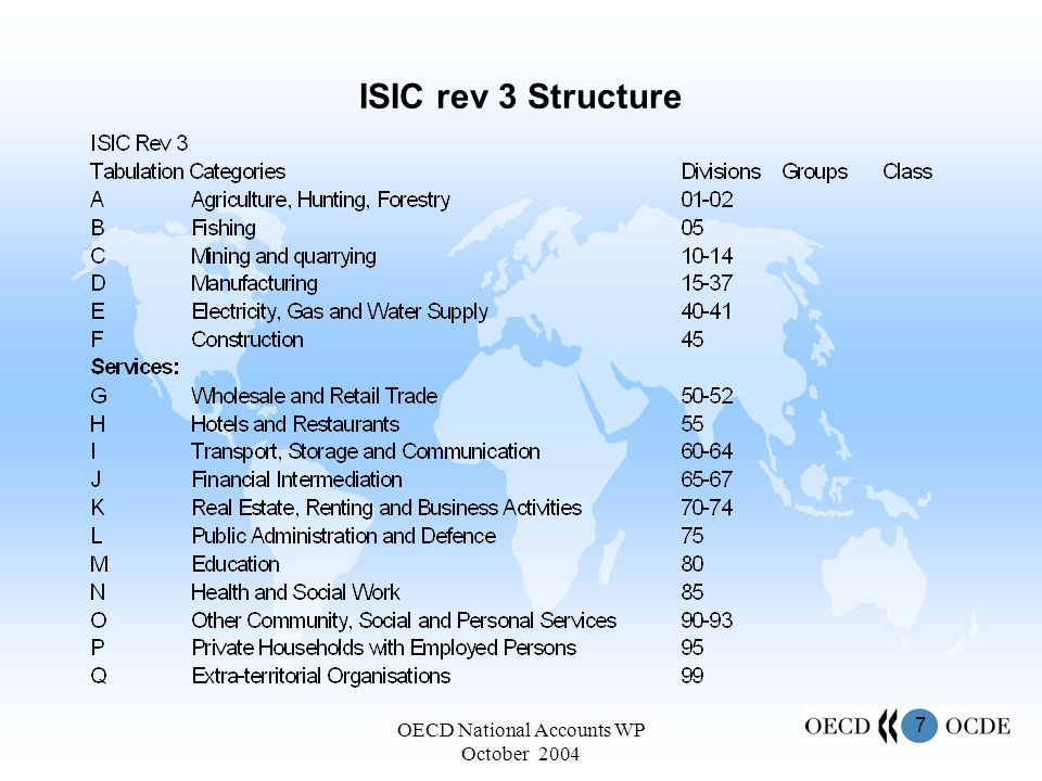 7 OECD National Accounts WP October 2004 ISIC rev 3 Structure