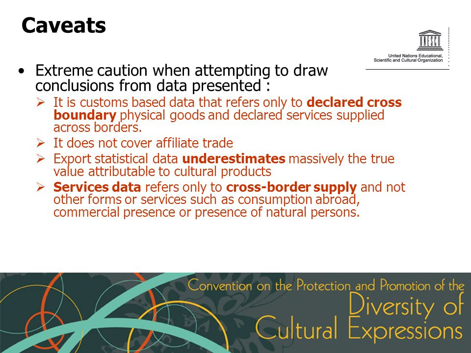Caveats Extreme caution when attempting to draw conclusions from data presented : It is customs based data that refers only to declared cross boundary physical goods and declared services supplied across borders.