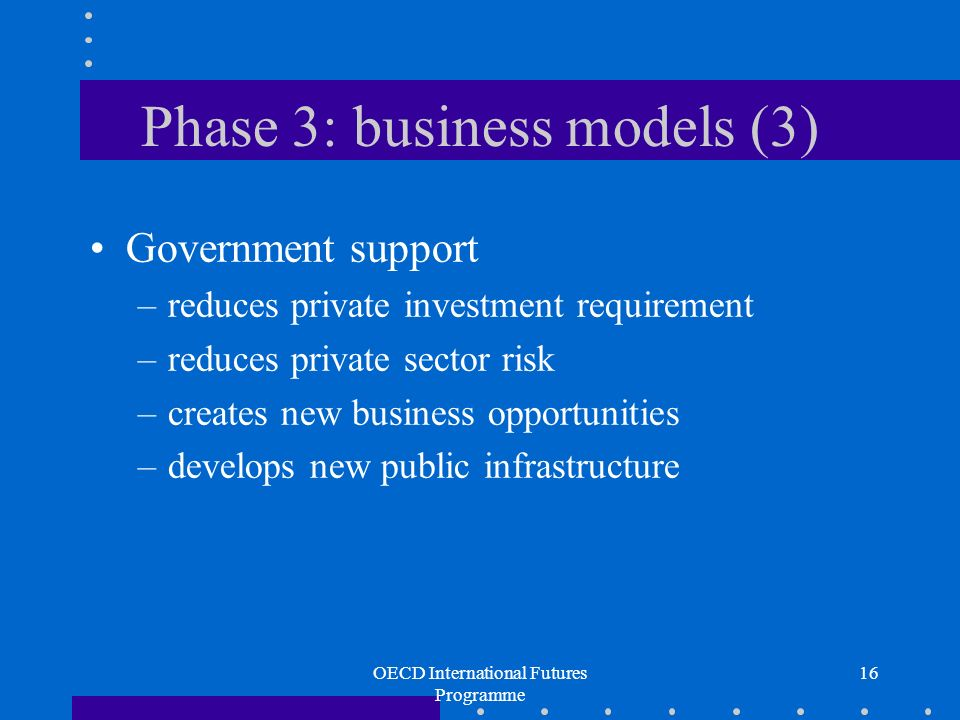 OECD International Futures Programme 16 Phase 3: business models (3) Government support –reduces private investment requirement –reduces private sector risk –creates new business opportunities –develops new public infrastructure