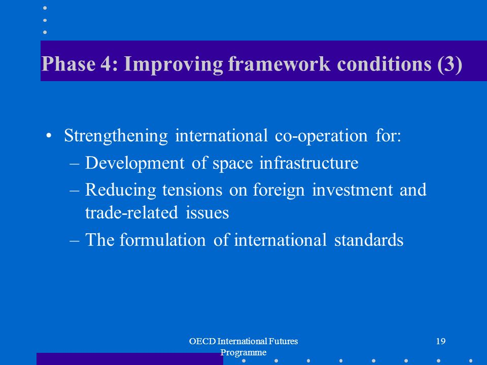 OECD International Futures Programme 19 Phase 4: Improving framework conditions (3) Strengthening international co-operation for: –Development of space infrastructure –Reducing tensions on foreign investment and trade-related issues –The formulation of international standards