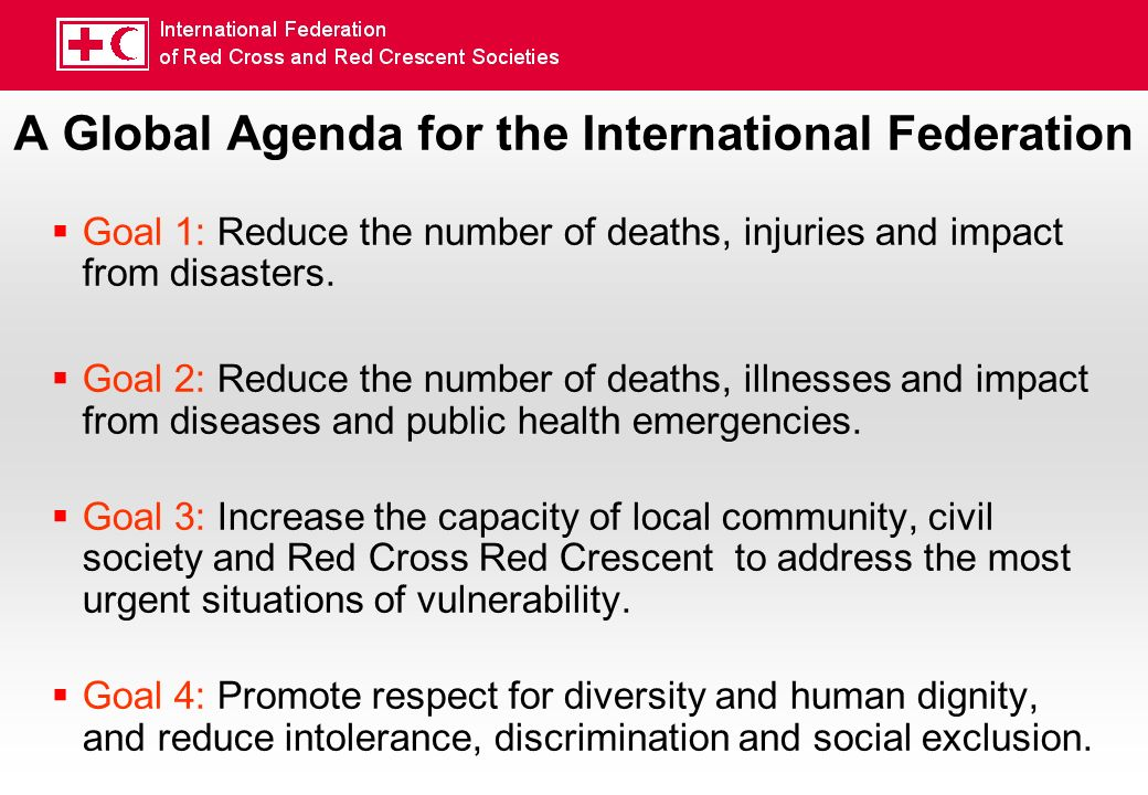 A Global Agenda for the International Federation Goal 1: Reduce the number of deaths, injuries and impact from disasters.