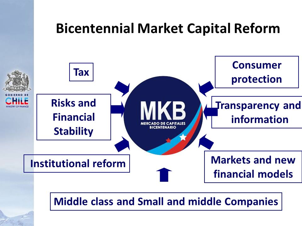 MINISTRY OF FINANCE Bicentennial Market Capital Reform Institutional reform Middle class and Small and middle Companies Transparency and information Risks and Financial Stability Tax Markets and new financial models Consumer protection