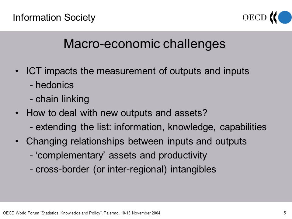 OECD World Forum Statistics, Knowledge and Policy, Palermo, 10-13 November 2004 5 Macro-economic challenges Information Society ICT impacts the measurement of outputs and inputs - hedonics - chain linking How to deal with new outputs and assets.