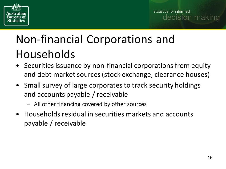 Non-financial Corporations and Households Securities issuance by non-financial corporations from equity and debt market sources (stock exchange, clearance houses) Small survey of large corporates to track security holdings and accounts payable / receivable –All other financing covered by other sources Households residual in securities markets and accounts payable / receivable 15