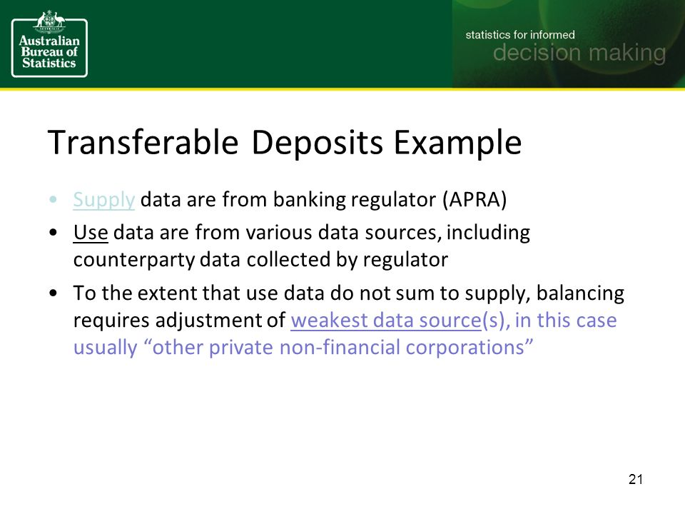 Transferable Deposits Example Supply data are from banking regulator (APRA) Use data are from various data sources, including counterparty data collected by regulator To the extent that use data do not sum to supply, balancing requires adjustment of weakest data source(s), in this case usually other private non-financial corporations 21