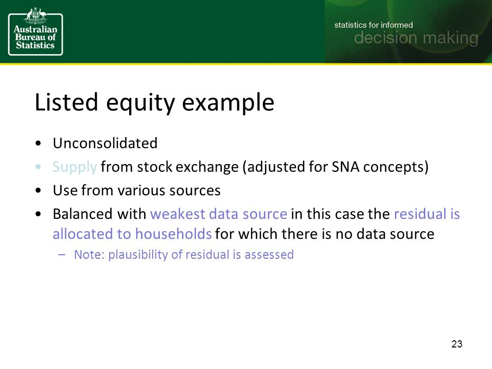 Listed equity example Unconsolidated Supply from stock exchange (adjusted for SNA concepts) Use from various sources Balanced with weakest data source in this case the residual is allocated to households for which there is no data source –Note: plausibility of residual is assessed 23