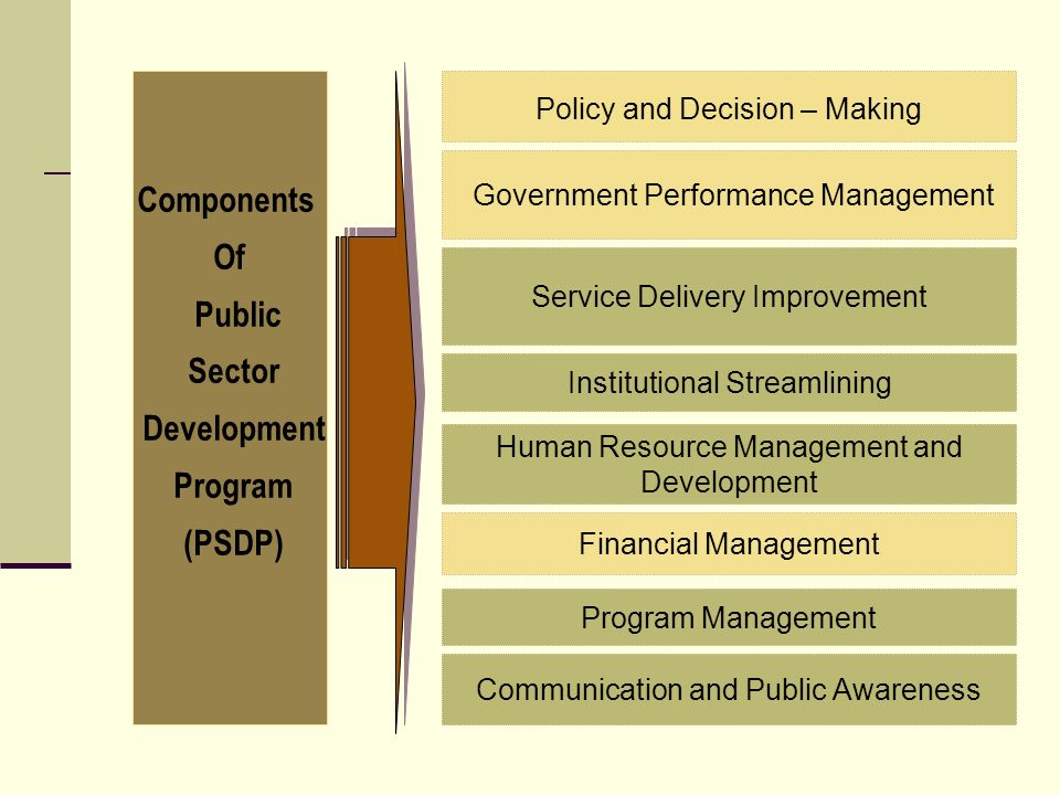 Components Of Public Sector Development Program (PSDP) Institutional Streamlining Financial Management Service Delivery Improvement Human Resource Management and Development Program Management Communication and Public Awareness Government Performance Management Policy and Decision – Making