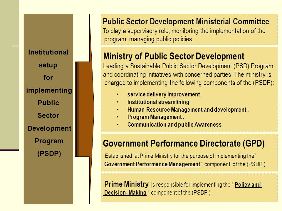 Institutional setup for implementing Public Sector Development Program (PSDP) Public Sector Development Ministerial Committee To play a supervisory role, monitoring the implementation of the program, managing public policies Ministry of Public Sector Development Leading a Sustainable Public Sector Development (PSD) Program and coordinating initiatives with concerned parties.
