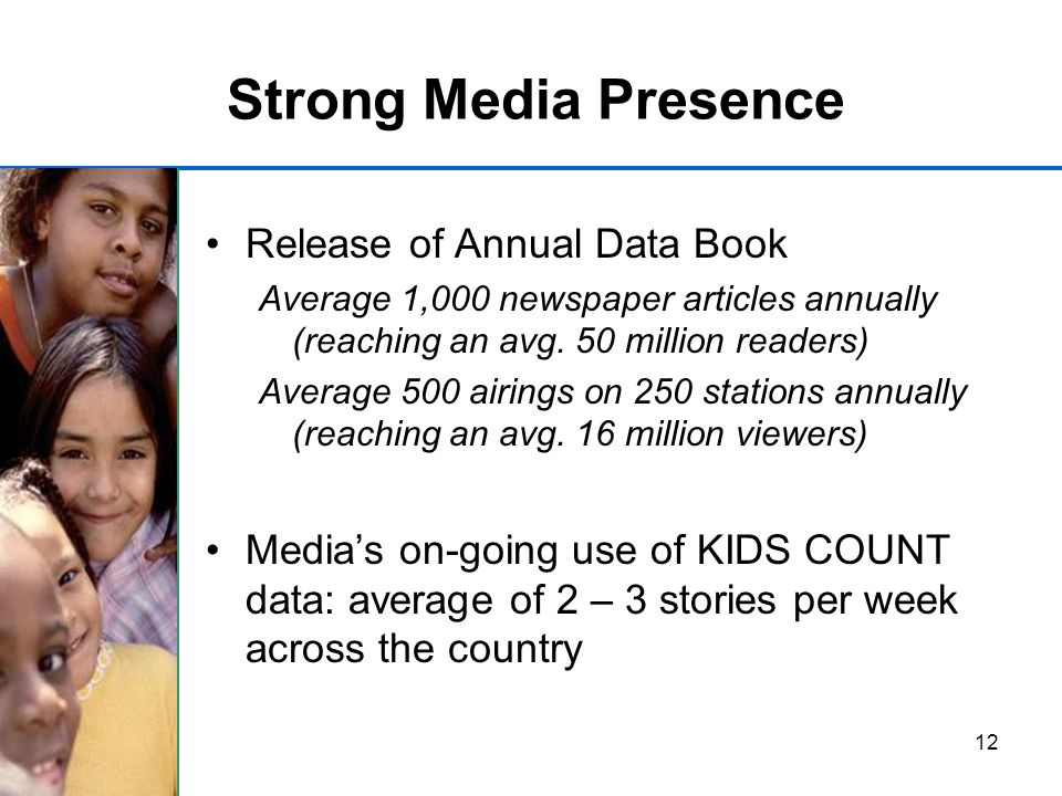 12 Strong Media Presence Release of Annual Data Book Average 1,000 newspaper articles annually (reaching an avg.