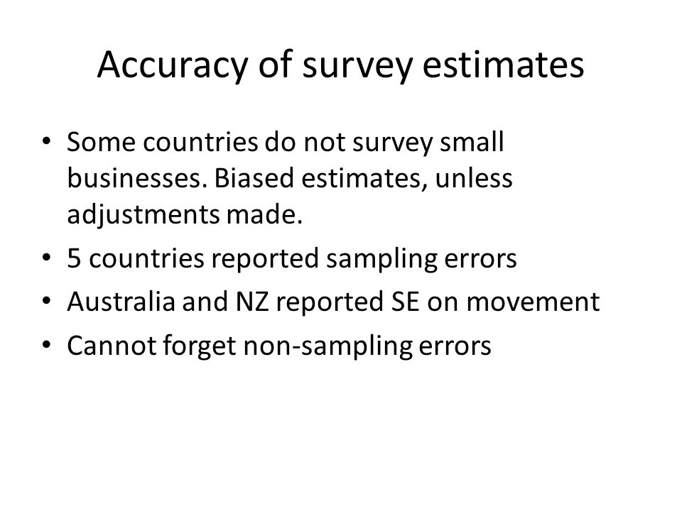 Accuracy of survey estimates Some countries do not survey small businesses.