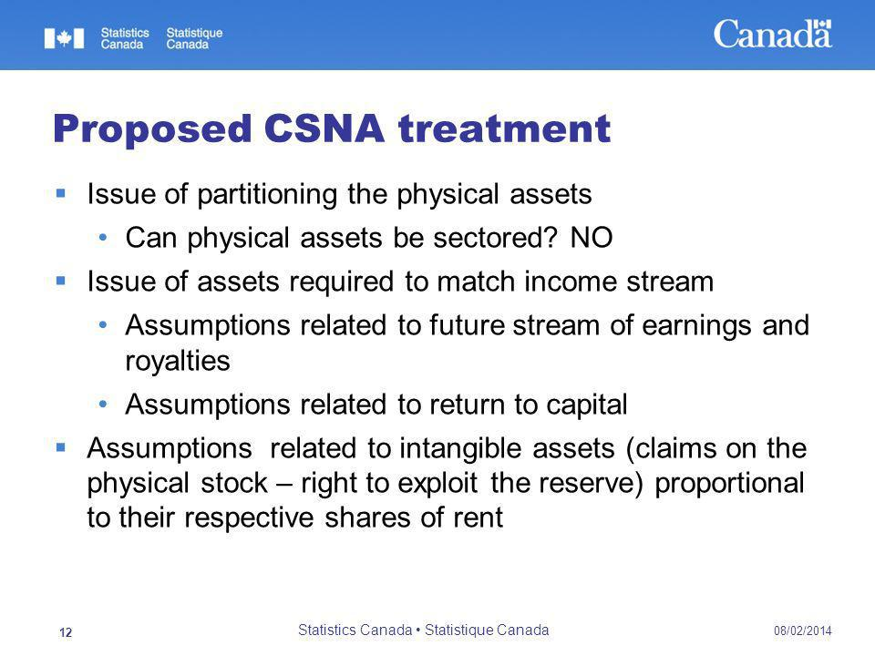 Proposed CSNA treatment Issue of partitioning the physical assets Can physical assets be sectored.