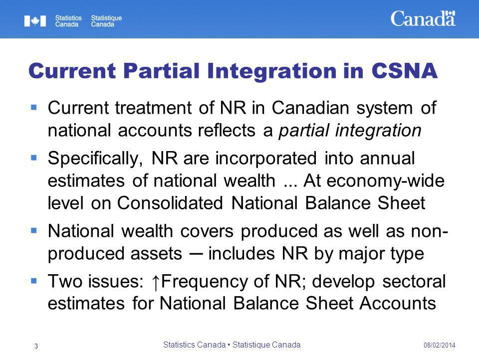 Current Partial Integration in CSNA Current treatment of NR in Canadian system of national accounts reflects a partial integration Specifically, NR are incorporated into annual estimates of national wealth...