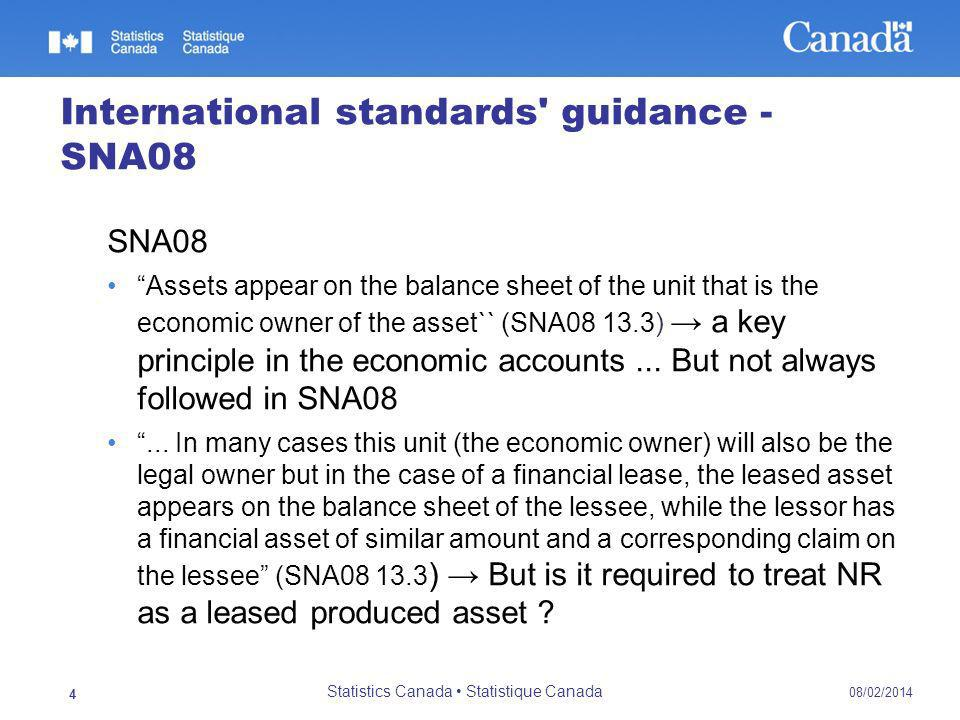 International standards guidance - SNA08 SNA08 Assets appear on the balance sheet of the unit that is the economic owner of the asset`` (SNA08 13.3) a key principle in the economic accounts...