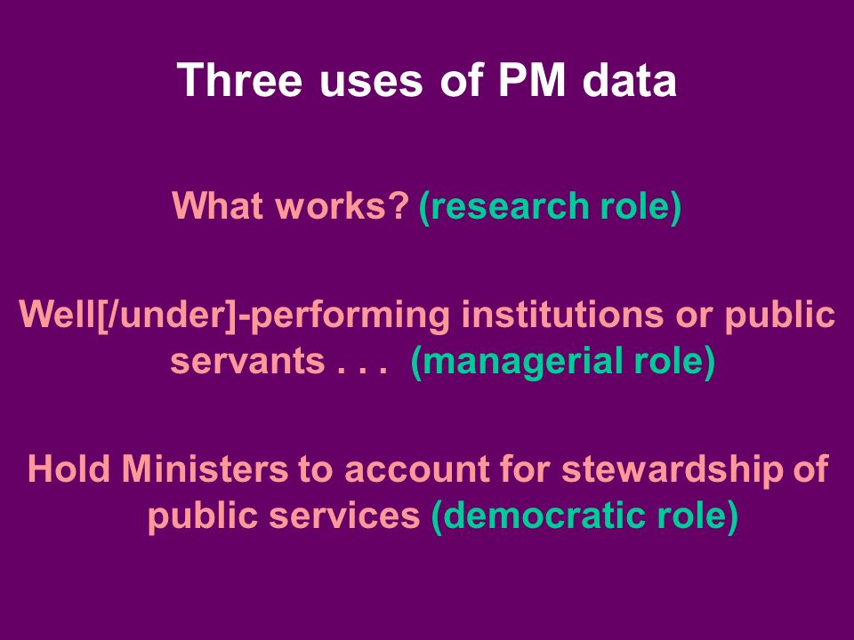 Three uses of PM data What works.