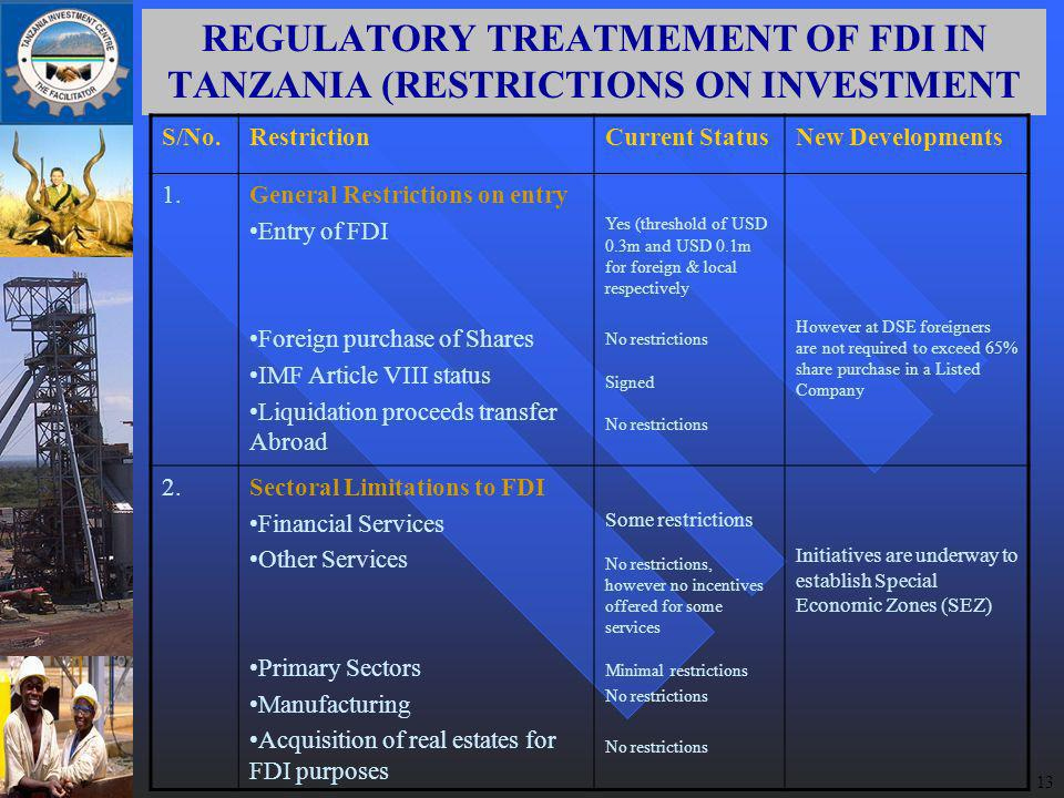 13 REGULATORY TREATMEMENT OF FDI IN TANZANIA (RESTRICTIONS ON INVESTMENT S/No.RestrictionCurrent StatusNew Developments 1.General Restrictions on entry Entry of FDI Foreign purchase of Shares IMF Article VIII status Liquidation proceeds transfer Abroad Yes (threshold of USD 0.3m and USD 0.1m for foreign & local respectively No restrictions Signed No restrictions However at DSE foreigners are not required to exceed 65% share purchase in a Listed Company 2.Sectoral Limitations to FDI Financial Services Other Services Primary Sectors Manufacturing Acquisition of real estates for FDI purposes Some restrictions No restrictions, however no incentives offered for some services Minimal restrictions No restrictions Initiatives are underway to establish Special Economic Zones (SEZ)