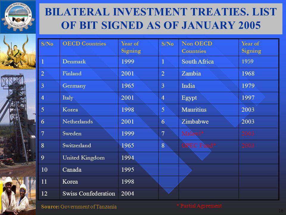 16 BILATERAL INVESTMENT TREATIES.
